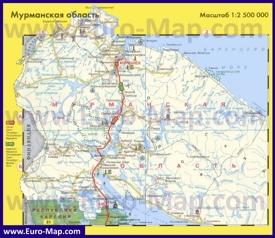 Автомобильная карта дорог Мурманской области
