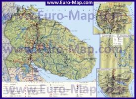 Туристическая топографическая карта Мурманской области с озерами