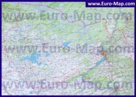 Топографическая карта Новосибирской области с озёрами