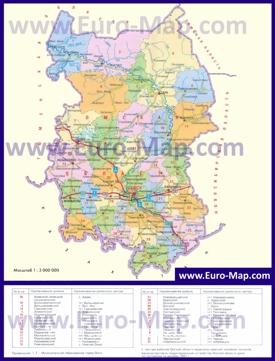 Административная карта районов Омской области