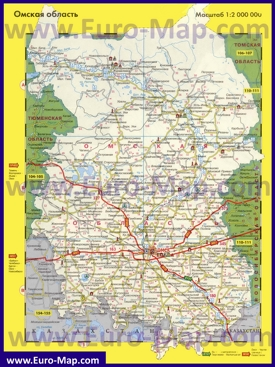 Автомобильная карта дорог Омской области