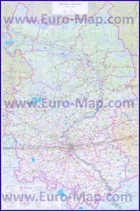 Подробная топографическая карта Омской области с озерами