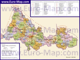 Административная карта районов Оренбургской области