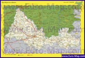 Автомобильная карта дорог Оренбургской области