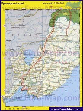 Автомобильная карта дорог Приморского края