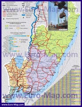 Транспортная карта Приморского края с городами