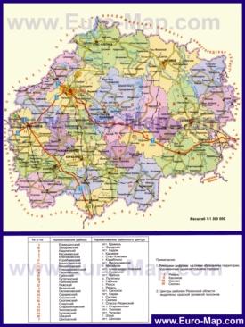 Административная карта районов Рязанской области