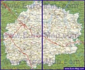 Подробная карта Рязанской области с городами