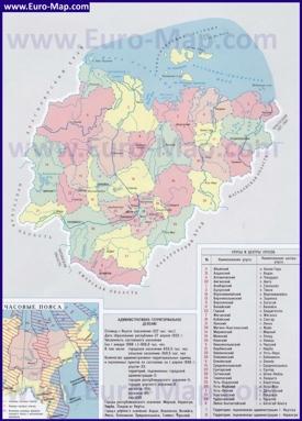 Административная карта Якутии с улусами
