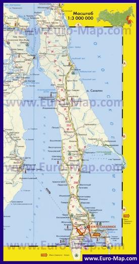 Автомобильная карта дорог Сахалина