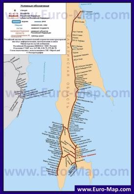 Карта железных дорог Сахалина