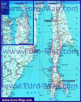 Подробная карта острова Сахалин с населенными пунктами