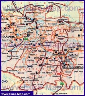 Автомобильная карта дорог Северной Осетии