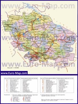 Административная карта районов Ставропольского края