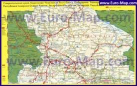 Автомобильная карта дорог Ставропольского края