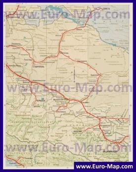 Карта железных дорог Ставропольского края