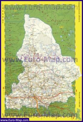 Автомобильная карта дорог Свердловской области