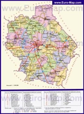 Административная карта районов Тамбовской области