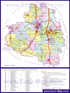 Административная карта районов Тульской области
