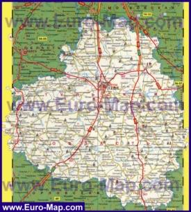 Подробная карта Тульской области с городами