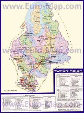 Административная карта районов Тюменской области