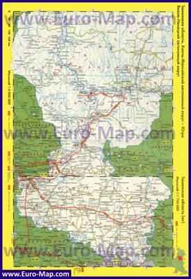 Автомобильная карта дорог Тюменской области