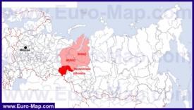 Тюменская область на карте России