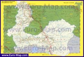 Автомобильная карта дорог Тывы