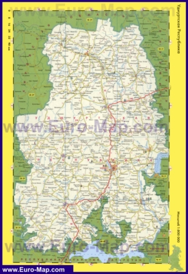 Автомобильная карта дорог Удмуртии