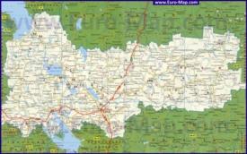 Автомобильная карта дорог Вологодской области