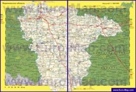 Автомобильная карта дорог Воронежской области