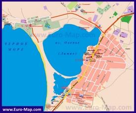 Карта Оленевки с отелями, санаториями и пансионатами