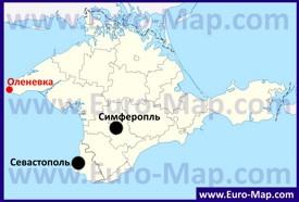 Оленевка на карте Крыма