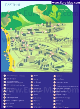 Карта достопримечательностей Партенита