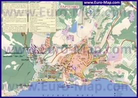 Подробная туристическая карта города Партенит с пляжами, гостиницами и пансионатами