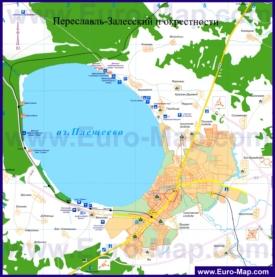 Карта Переславль-Залесского с окрестностями