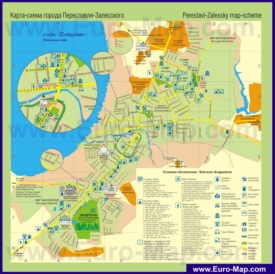 Подробная туристическая карта города Переславль-Залесский с гостиницами и достопримечательностями