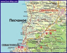 Карта Песчаного с окрестностями
