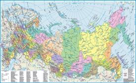 Политическая карта России с городами и регионами