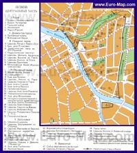 Карта Пскова с достопримечательностями