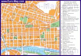 Карта центра Ростова-на-Дону с достопримечательностями