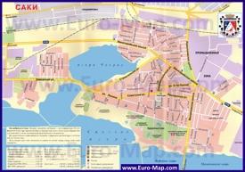 Карта города Саки с улицами