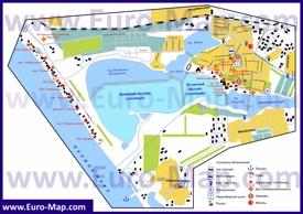 Подробная туристическая карта города Саки с гостиницами, санаториями и пляжами