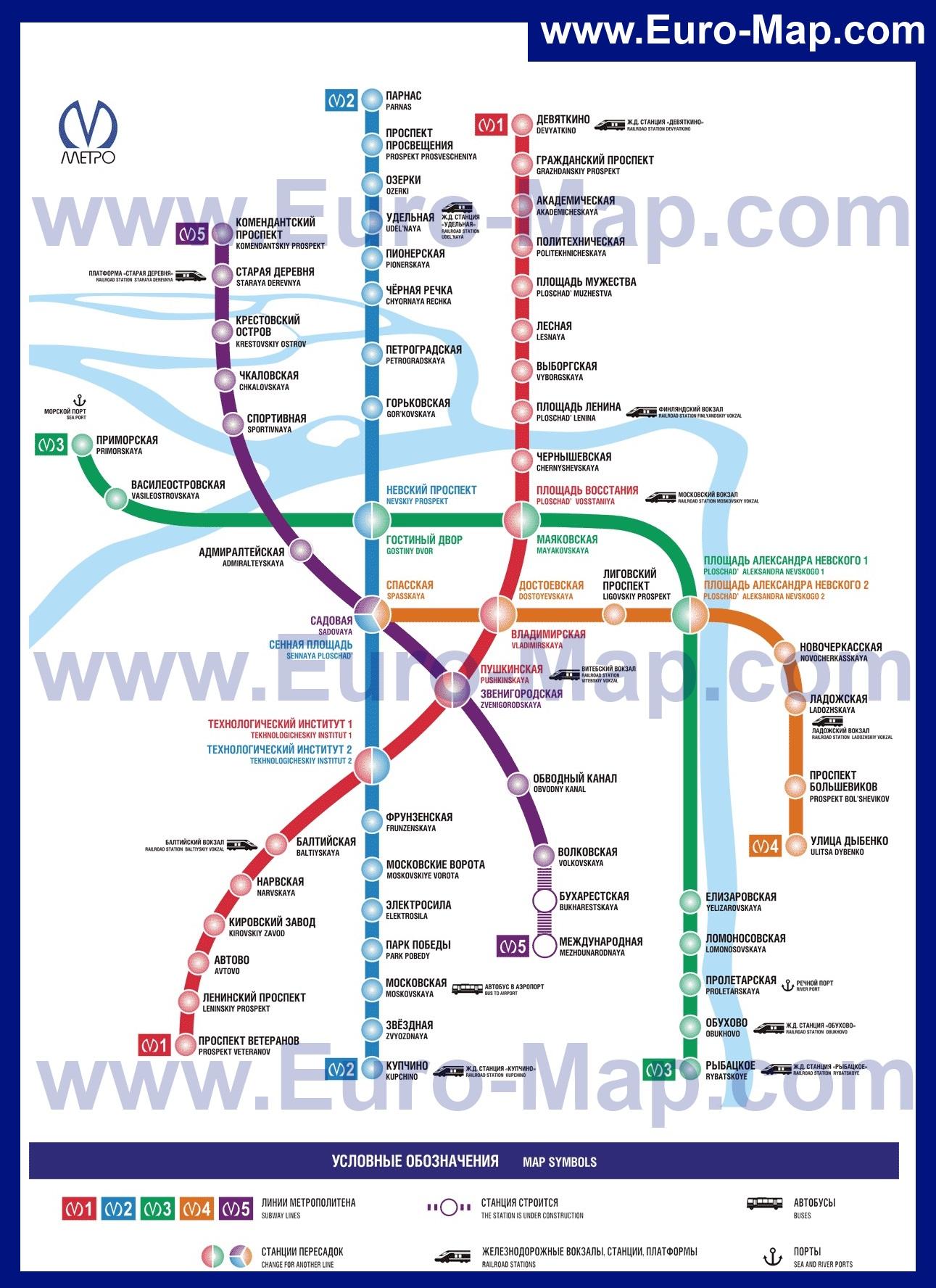 Схема карта метро санкт петербурга