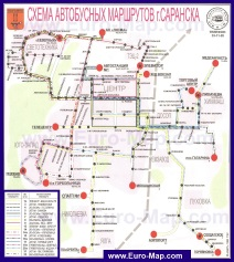 Карта Саранска с маршрутами транспорта