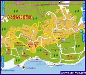 Карта Симеиза с отелями и санаториями