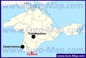 Симеиз на карте Крыма
