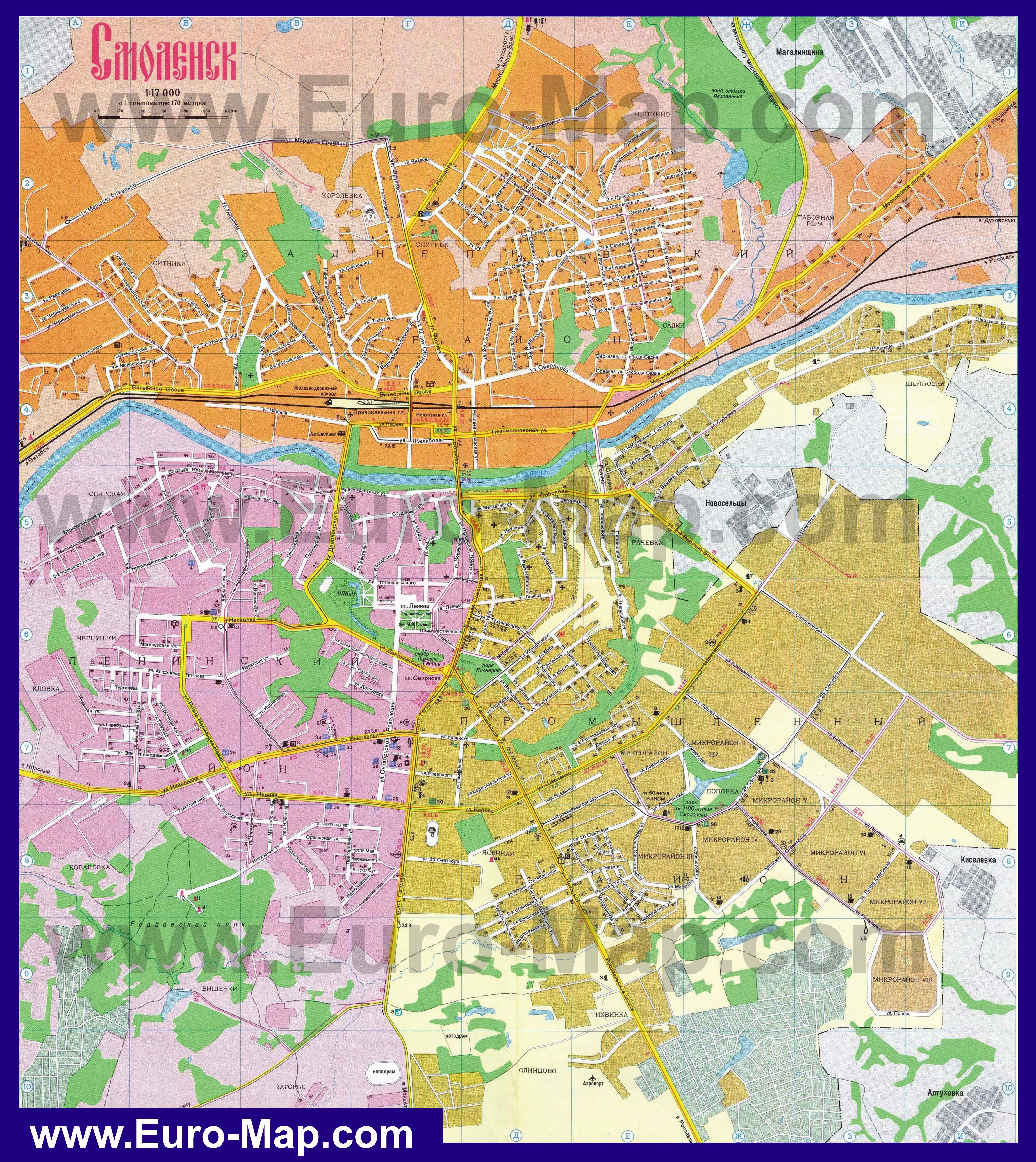 Схема улиц г смоленска