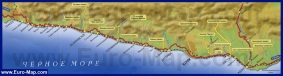 Карта побережья большого Сочи