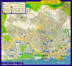 Туристическая карта Сочи с отелями